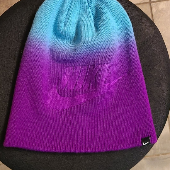 Nike teal/purple ombre beanie